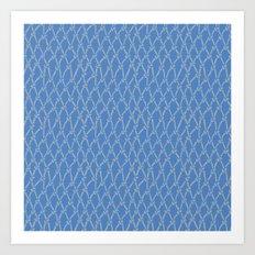 Fishing Net Grey on Blue Art Print