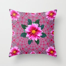 Purple Optical Art Floral Abstracted  Dahlias Pattern Throw Pillow