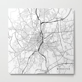 Worcester Map, USA - Black and White Metal Print