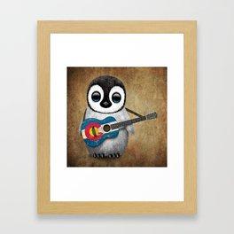 Baby Penguin Playing Colorado Flag Guitar Framed Art Print