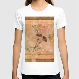 Music, pipe with clef and key notes T-shirt