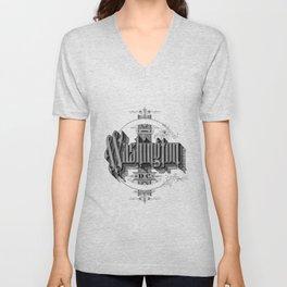 Classic Washington D.C. Typography Design Art Nouveau Posh Style Unisex V-Neck