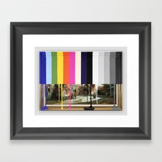 Garage Sale Painting of Peasants with Color Bars Framed Art Print
