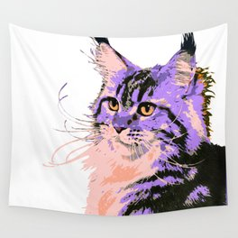 Maine Coon Cat Purple/Peach/Black Wall Tapestry