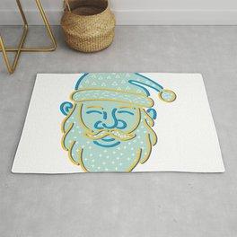 Santa Claus Head Memphis Style Rug