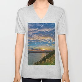 Daisys and Seagull at Sunset Unisex V-Neck