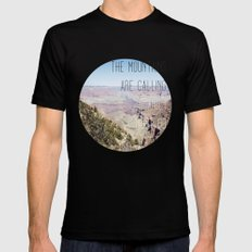 THE MOUNTAINS ARE CALLING AND I MUST GO MEDIUM Mens Fitted Tee Black