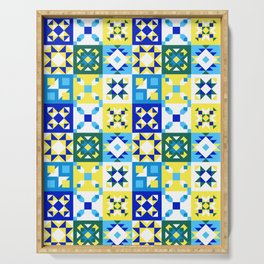 Moroccan tiles pattern with blue and yellow no4 Serving Tray