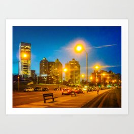 Night Scene Montevideo Cityscape Art Print