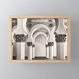 The Historic Arches in the Synagogue of Santa María la Blanca, Toledo Spain Framed Mini Art Print