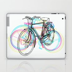Artistic modern pink teal abstract bicycles art Laptop & iPad Skin