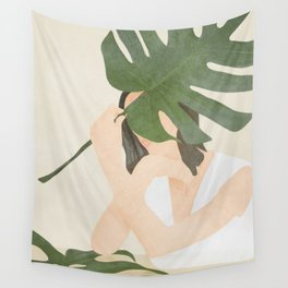 Under the Monstera Leaf Wall Tapestry