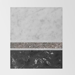 White and Black Marble Silver Glitter Stripe Glam #1 #minimal #decor #art #society6 Throw Blanket