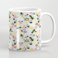 bees Mugs featuring Bees by Yellow Button Studio