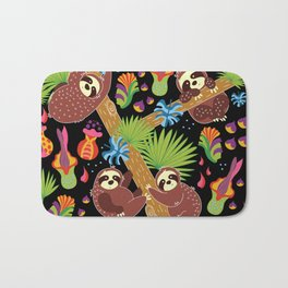 Sloths hanging out Bath Mat
