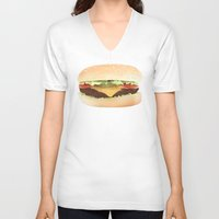 hamburger V-neck T-shirts featuring Hamburger by Tyler Keff Beasley