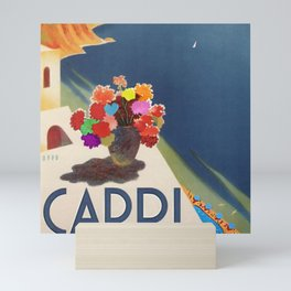 1952 Capri, Italy Seaside Coastal Mediterranean Sea Vintage Travel Advertising Poster with peonies Mini Art Print