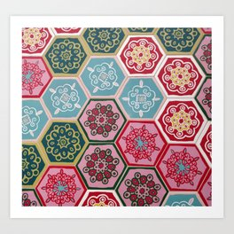 Sherbet Dream - Colorful Tiles Art Print