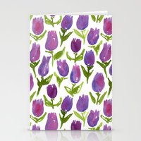 tulips Stationery Cards featuring Tulips by leah reena goren