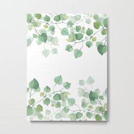 LITTLE GREEN IVY - Watercolor leaves Metal Print