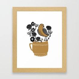 Calm - linocut art print, bird art, teacup art print, flowers art, linocut, Framed Art Print