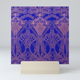 Royal blue,Art nouveau pattern,royal purple, floral Mini Art Print