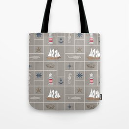 Nautical symbols on sandy background Tote Bag