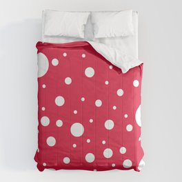 Mixed Polka Dots - White on Crimson Red Comforters