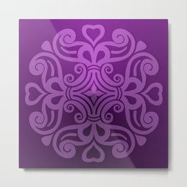 HUNGARIAN ORNAMENTS - Femininity mandala in purple Metal Print