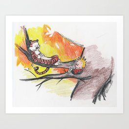 Calvin and Hobbes Relaxin' on a Summer Day Art Print
