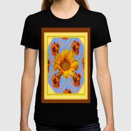 Coffee Brown Design Yellow-Baby Blue Sun Flowers Art T-shirt