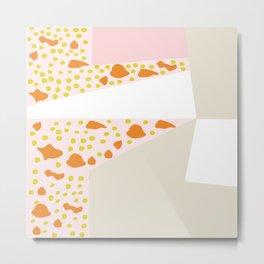 Retro Terrazzo Abstract Design Metal Print