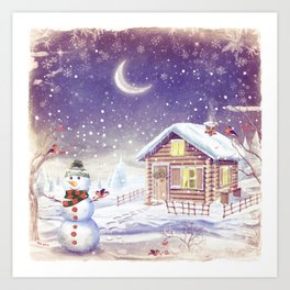 Christmas scene with snowman and house Art Print