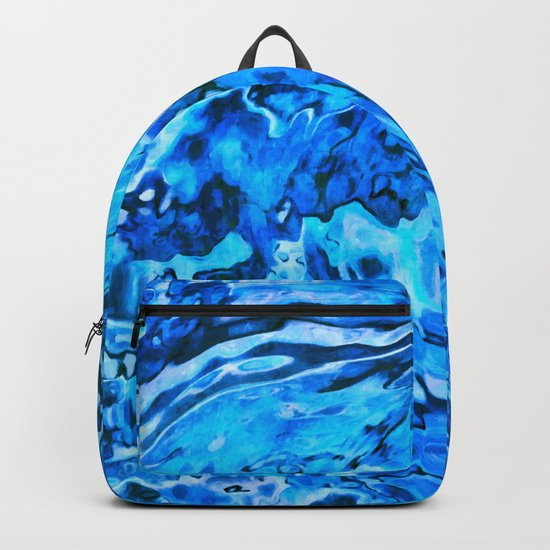 Blue wave abstract Backpack