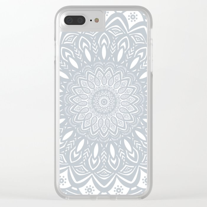 Cool Gray Mandala Simplistic Bold Minimal Minimalistic Clear iPhone Case