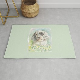 ENGLISH SETTER PUPPY Cute dog portrait on the dandelions meadow Rug