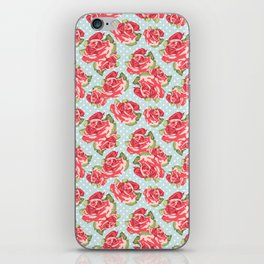 English Roses Blue Polka Dots iPhone Skin