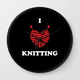 Knitting Wool I Love Knitting Wall Clock