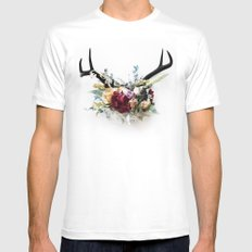 Floral Antlers VI Mens Fitted Tee MEDIUM White