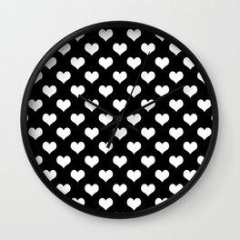Black White Hearts Minimalist Wall Clock