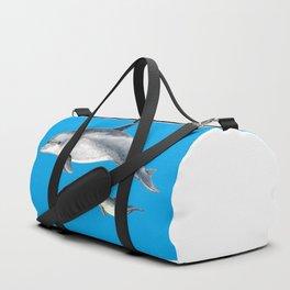 Bottlenose dolphin blue background Duffle Bag