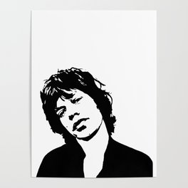 "Sir Michael Philip ""Mick"" JaggerBlack White Face, Music, Art Poster"