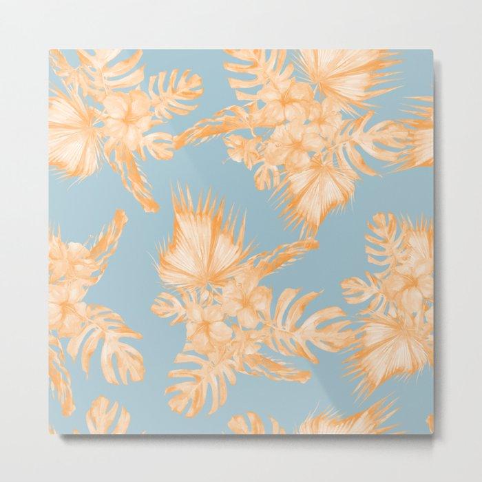 Hawaiian Hibiscus Palm Deep Orange Sky Blue Metal Print