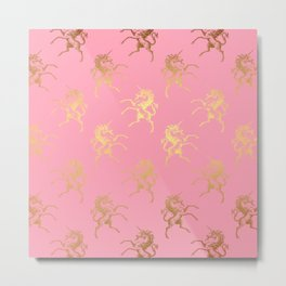 Gold elegant Unicorns on pink pattern Metal Print