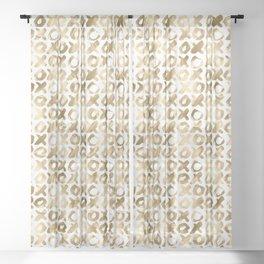 XOXO Love Me Gold Pattern 2 Sheer Curtain