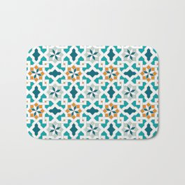 Geometric Pattern, oriental style (blue color set)  traditional morocco tile pattern Bath Mat