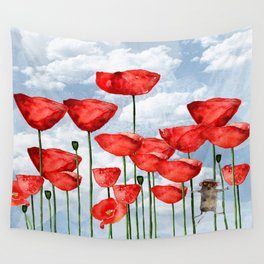 Mouse and poppies on a cloudy day Wall Tapestry
