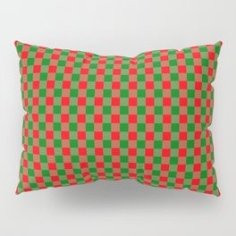 Large Red and Green Christmas Gingham Check Tartan Plaid Pillow Sham