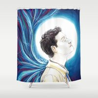 castiel Shower Curtains featuring Castiel by laya rose