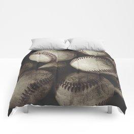 Grungy Baseballs on a Shelf Comforters